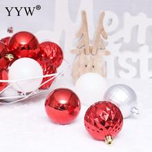 24pcs 8cm Red White Christmas Balls Hanging Home Party Tree Ornament Gift New Year Decorations Supplies
