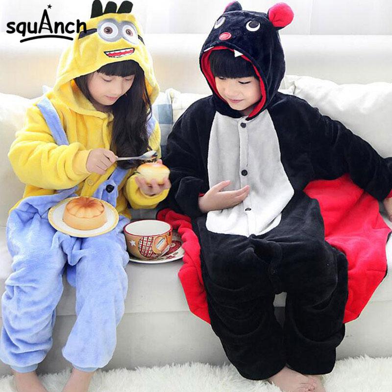 Minions Bat Onesie Cartoon Anime Animal Kigurumi Children Girl Boy Kawaii Pajama Festival Party Winter Overall Flannel Jumpsuit