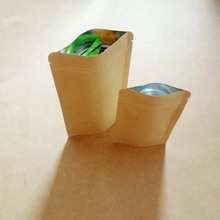 50pcs Brown Stand Up Aluminum Kraft Paper Bags For Gifts/Wedding/Candy/Tea/Food Crafts No Flat Ziplock Packing Bag