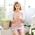 Novo quente de Verão Puro Algodão Flor Imprimir Pijamas Set Homewear Casual para Meninas Das Senhoras Das Mulheres de Manga Curta Fina 1174