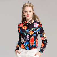 SVORYXIU High Quality Summer Shirt Women Long Sleeves Fine Print Turn Down Collar Casual Blouse Newest