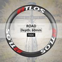 超軽量カーボン自転車ホイール 60 ミリメートル深さ特別なブレーキ v ブレーキクリンチャー 700c ロードバイクホイール BTLOS RC 60L -