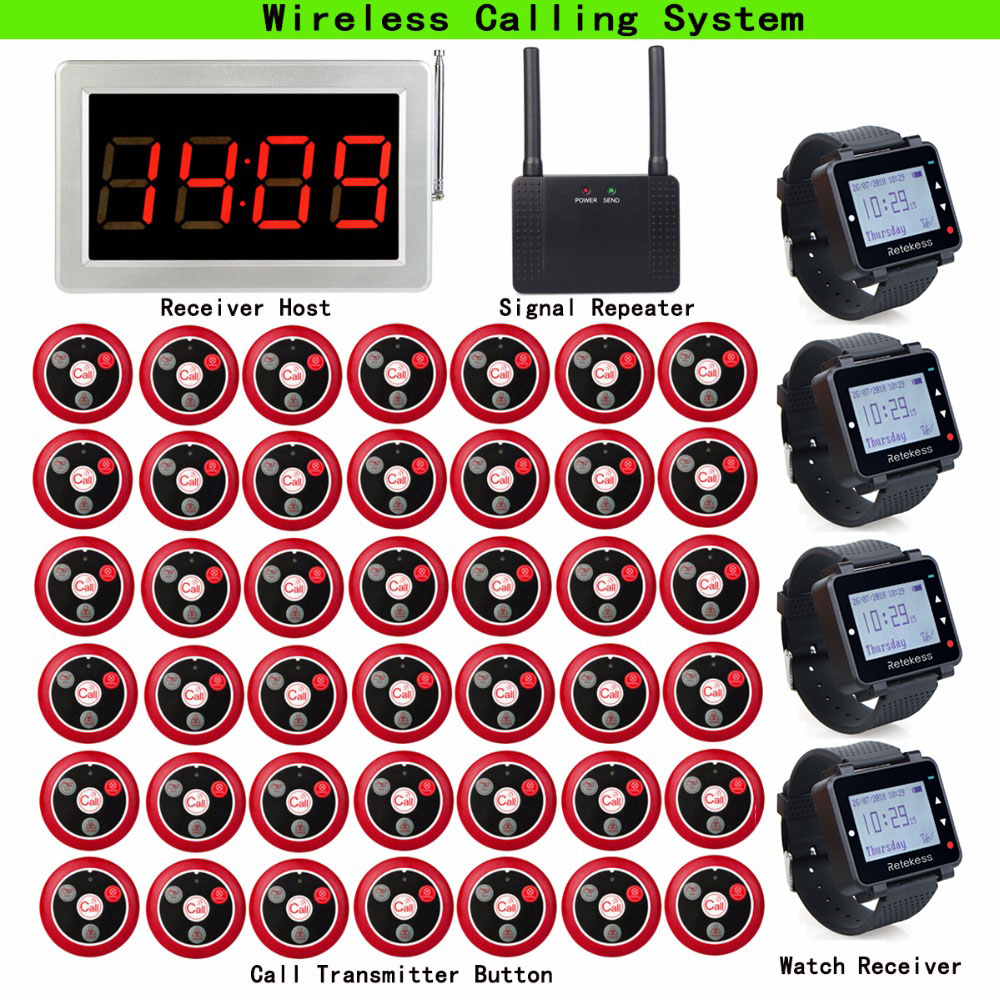 Restaurant Pager Wireless Waiter Calling System 1 Receiver Host+4 Watch Receiver + 1pcs Signal Repeater + 42 Call Button T117Restaurant Pager Wireless Waiter Calling System 1 Receiver Host+4 Watch Receiver + 1pcs Signal Repeater + 42 Call Button T117