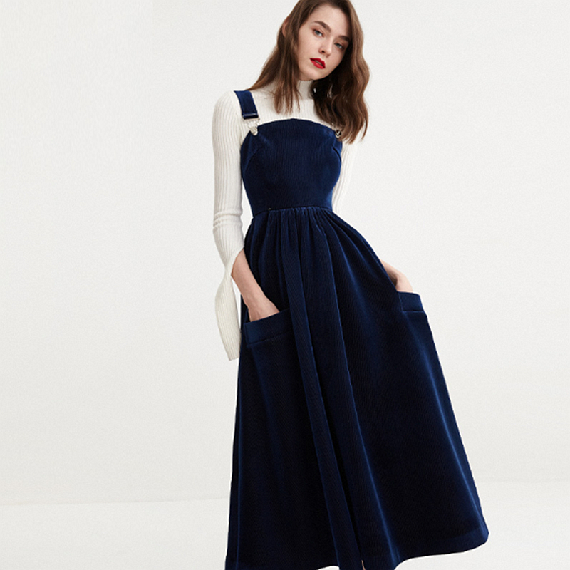 Straps Dress Women Lanon Blended Corduroy Fabric Solid Pockets Simple Design Youth Sweet Style Female New Fashion Spring 2018-in Dresses from Women's Clothing    1