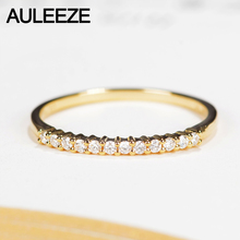 AULEEZE Classic 18K Gold Anniversary Real Natural Diamond Wedding Band 750 Rose Gold Rings For Women Ladies Ring Jewelry
