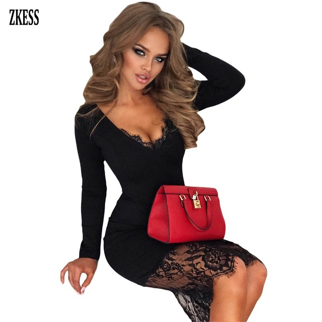 45b36050794c3 US $14.92 41% OFF|ZKESS Women Black Wine Sheer Lace Hemline Party Midi  Dress Sexy V Neck Long Sleeve Bodycon Night Club Fitted Dress LC610982-in  ...