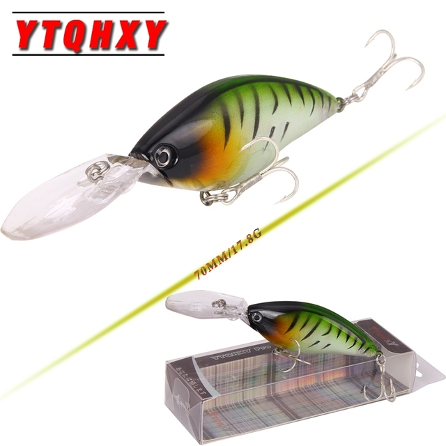 YTQHXY Floating Deep Diving Crankbait Fishing Lures 17.8g/70mm Wobblers With 6# Quality Hooks peche isca artificial Lure YE-103