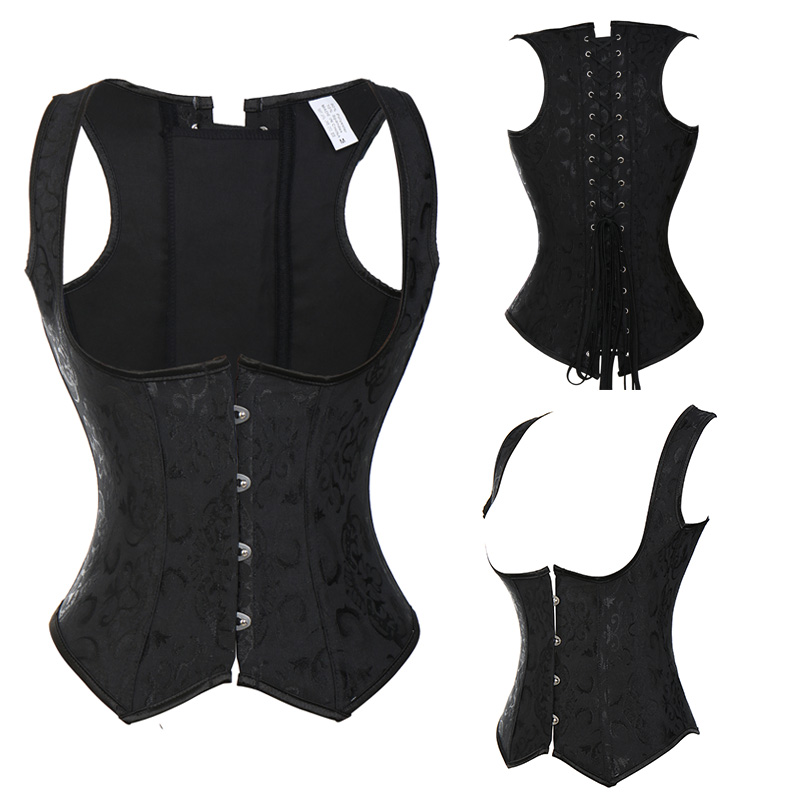 Sprial Steel Boned Steampunk Corsets And Bustiers Gothic Brocade Underbust Lace Up Corset Black Corselet Plus Size TYQ-in Bustiers & Corsets from Underwear & Sleepwears