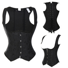 Sprial Steel Boned Steampunk Corsets And Bustiers Gothic Brocade Underbust Lace Up Corset Black Corselet Plus Size TYQ
