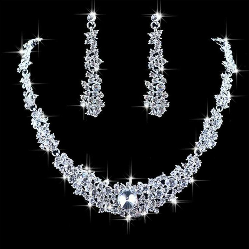 Crystal Heart Wedding Jewelry Sets for Bride Silver Color Rhinestone Wedding Jewelry Sets for Women #273944
