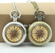 Steampunk Compass Pocket Watch Memory Locket Necklace Vintage Pocket Watch Necklace Silver