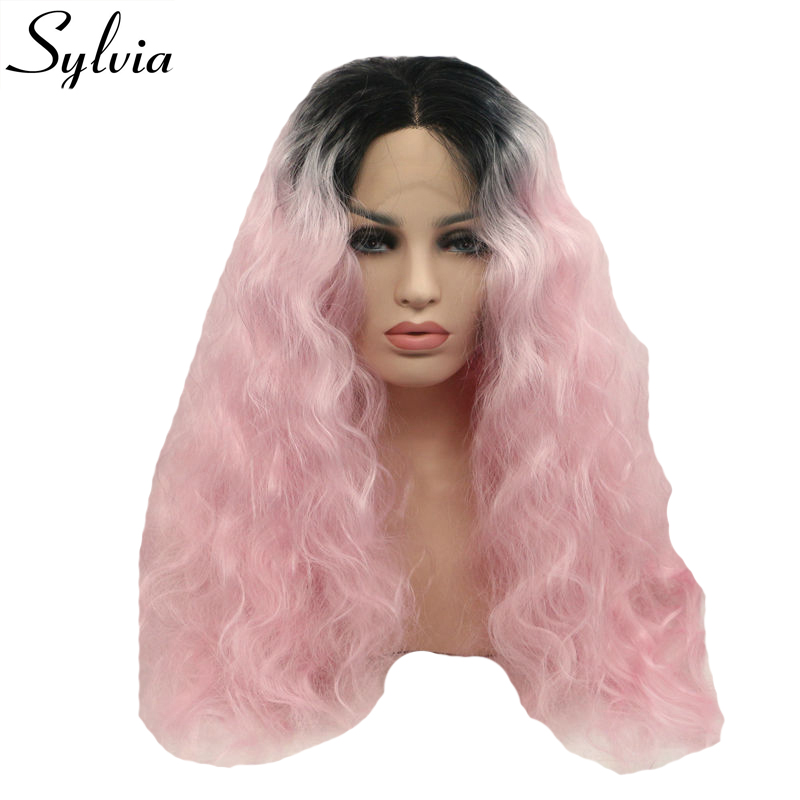 Sylvia black/pink ombre kinky curly synthetic lace front wigs natural pink hairstyle heat resistant fiber hair middle parting