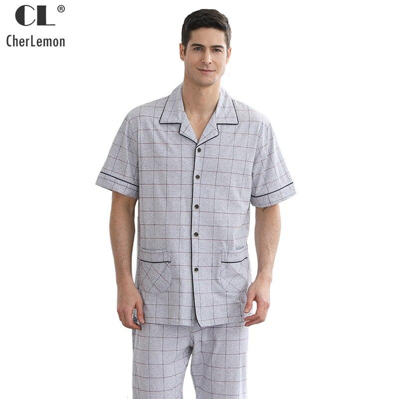 CherLemon Summer 100% Cotton Pajamas Mens Short Sleeve ...