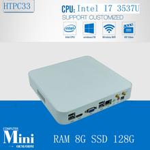 Mini PC Linux Thin PC Living Room Computer Intel Core i7 3537U Dual Core 4 Threads 8GB Ram 128GB SSD  HDD 300M Wifi HDMI