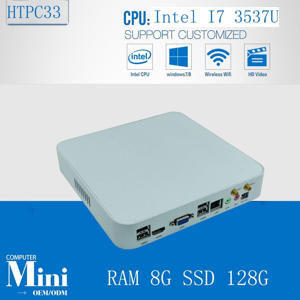 Mini PC Linux Thin PC Living Room Computer Intel Core I7 3537U Dual Core 4 Threads 8GB Ram 128GB SSD  HDD 300M Wifi HDMI