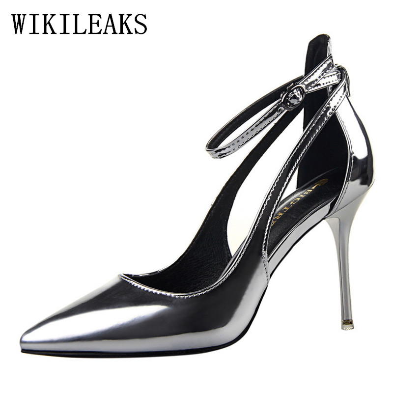 Patent Leather red fetish high heels sandals women bigtree wedding shoes zapatos mujer tacon sexy pumps women italian shoes 2018 luxury brand crystal patent leather sandals women high heels thick heel women shoes with heels wedding shoes ladies silver pumps