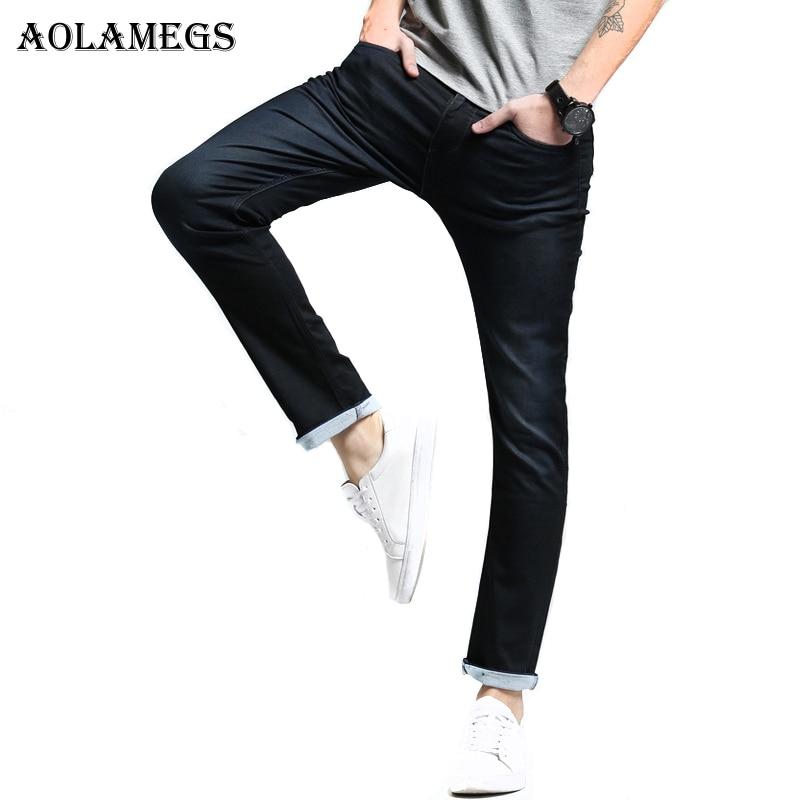 Aolamegs Men Denim Jeans Pants Men's Slim Fit Super Elastic Jeans Trousers Male Tide Knited Boys Cowboy Trousers New Design