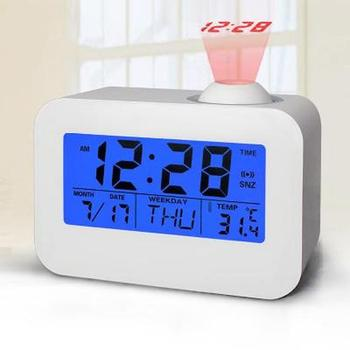 Snooze Function LED Smart Bedside Alarm Clock Voice Control Backlight Multi-function Voice Projection Alarm Clock with Luminous