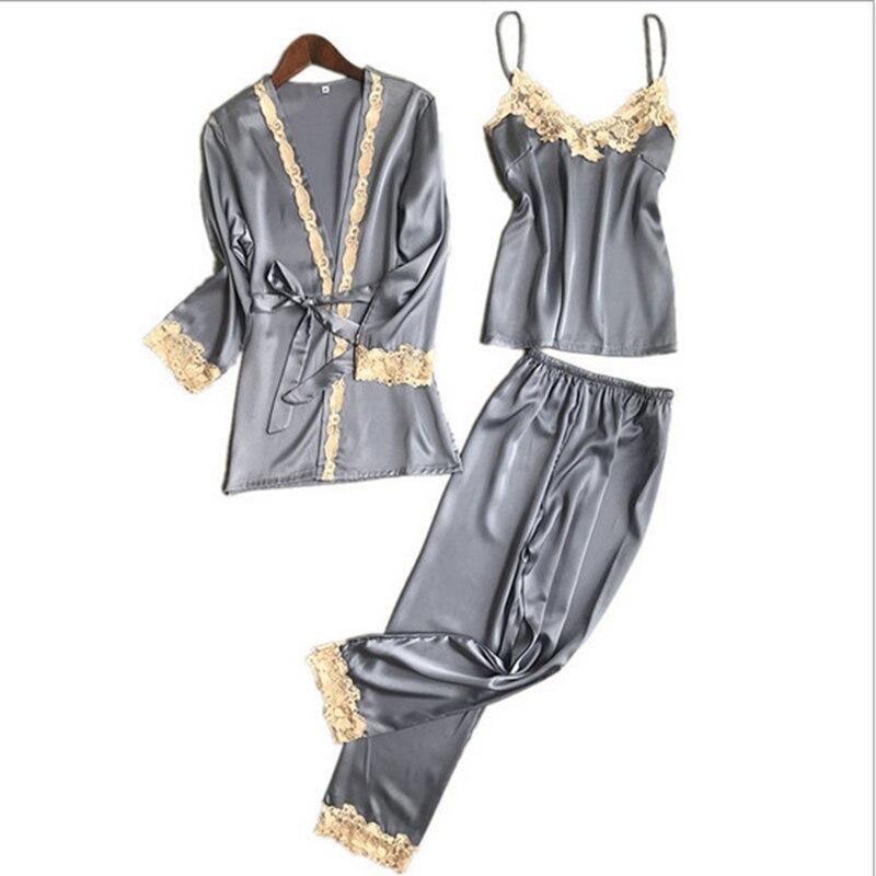 2018 Three Piece Female Sexy & elegant Silk   Pajamas     Set   Robe Sling   Pajamas   Long Sleeved Pants Women Nightgown 6 Color Sleepwear