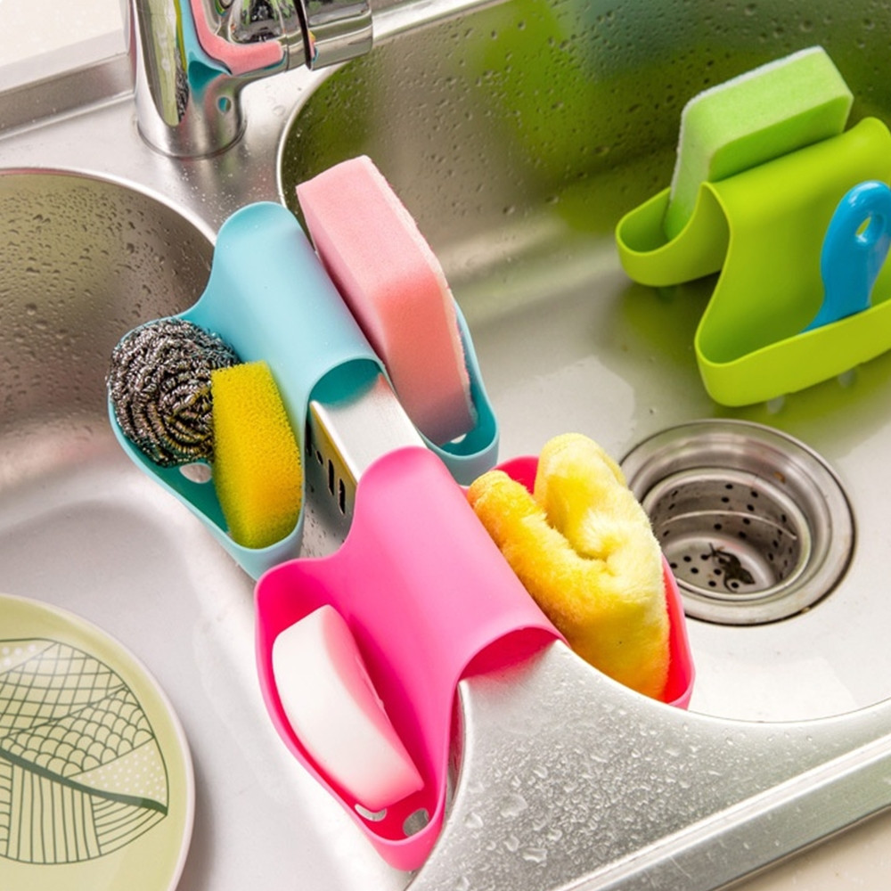 Basket-Rack Sponge-Holder-Tool Caddy Storage Kitchen-Organizer Drain Saddle-Style Double-Sink title=