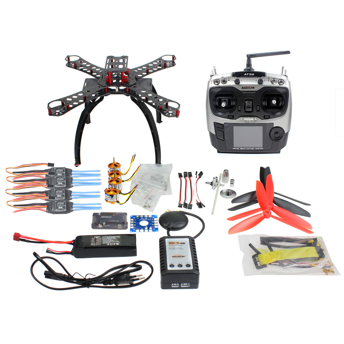 RC DIY Full Kit Carbon Fiber Frame MulticopterGPS Drone FPV Radiolink AT9 Transmitter APM2 8 1400KV