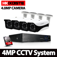 HKIXDISTE 4CH CCTV System 4MP HDMI AHD CCTV DVR 4PCS 4 0 MP IR Outdoor Security