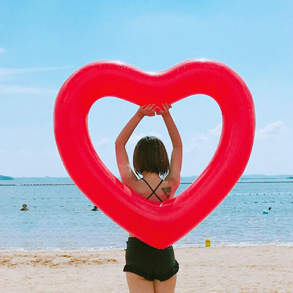 Inflatable Heart shaped Lifebuoy Air Mattress Swimming Pool Float Swim Ring Seat Summer Water Fun Pool Floating Circle
