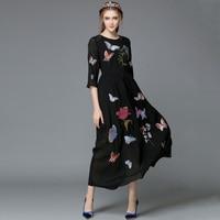 Мода Плюс Размер 2016 Женщины Весна Осень Марка Взлетно Посадочной Полосы Черная Бабочка Цветок Вышивка Тонкий Длинный Повседневная Макси Пл