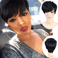 Nuevo Corte Pixie Pelucas Pelucas Cortas Para Las Mujeres Negras Africanas americano Barato Corto Pelucas de Pelo Negro Peluca Sintética Perruque Sintética Wome