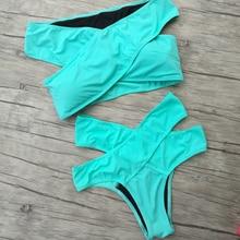 Hot! New 2019 Women Bikini Sets Green Sexy Swimsuit Off the Shoulder Swimwear Biquini Beachwear Secret High Waist bikinis