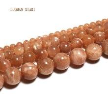 Luoman xiari природный AAA+ Круглый Sunstone камни бусины для самостоятельного изготовления ювелирных изделий браслет Цепочки и ожерелья Материал 4/6/8/10 мм нить 15''
