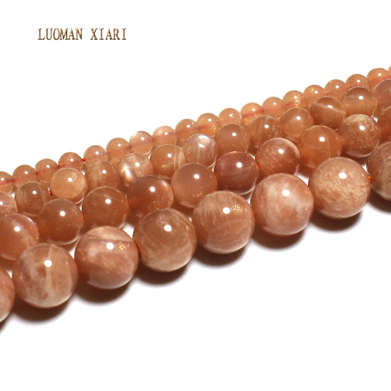 LUOMAN XIARI Natural AAA+ Round  Sunstone Stone Bead For Jewelry Making DIY Bracelet Necklace  Material 4/6/8/10mm Strand 15LUOMAN XIARI Natural AAA+ Round  Sunstone Stone Bead For Jewelry Making DIY Bracelet Necklace  Material 4/6/8/10mm Strand 15