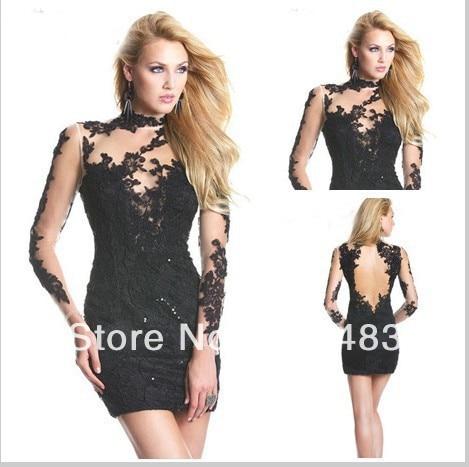 Black Long-Sleeved Short Prom Dresses 2013