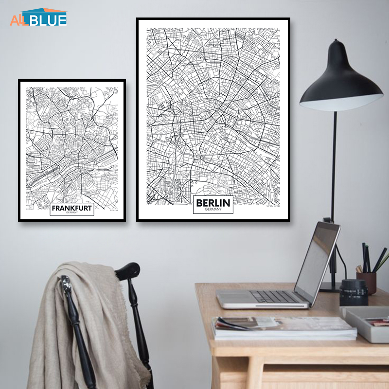 Europe Germany City Map Munich Frankfurt Berlin Poster Canvas Art Print Painting Wall Picture For Living Room Modern Home Decor