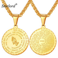 New Praying Hands Pendants Necklaces With Bible Verse Prayer Coin Jewelry Vintage Gold Plated Stainless Steel