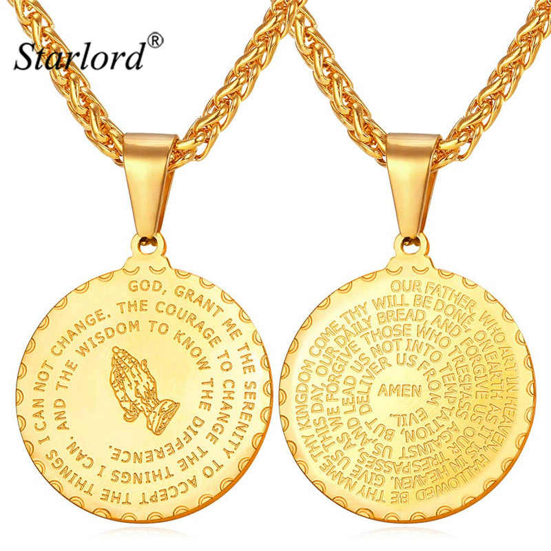 Starlord Praying Hands Pendants Necklaces& Bible Verse Prayer Coin Jewelry Vintage Gold Color Stainless Steel Bijoux Men GP2356