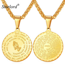New Praying Hands Pendants Necklaces With Bible Verse Prayer Coin Jewelry Vintage Gold Plated Stainless Steel Bijoux Men GP2356