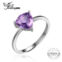 Jewelrypalace billones 1.1ct natural purple amethyst birthstone anillo solitario genuino 925 plata esterlina joyería fina 2016 nuevo