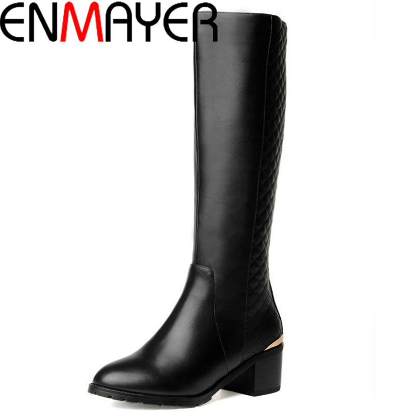 ФОТО ENMAYER Hot Quality Winter Womens Boots Genuine Leather High Boots NEW Flats Heels Shoes Women Boots BIG Size 34-43 Knight Boots