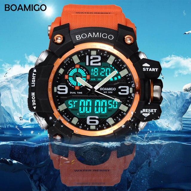 Men Sports Watches BOAMIGO Brand Digital LED Orange Shock Swim Quartz Rubber Wristwatches Waterproof Clock Relogio Masculino Mens Bracelet Watch