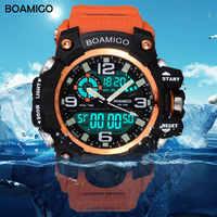 Montres de sport pour hommes marque BOAMIGO LED numérique Orange choc nager Quartz montres en caoutchouc étanche horloge Relogio Masculino