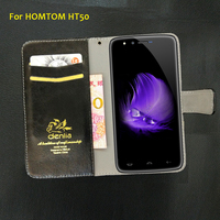TOP New HOMTOM HT50 Case 5 Colors Ultra Thin Luxury Leather Case Exclusive Phone Cover Credit
