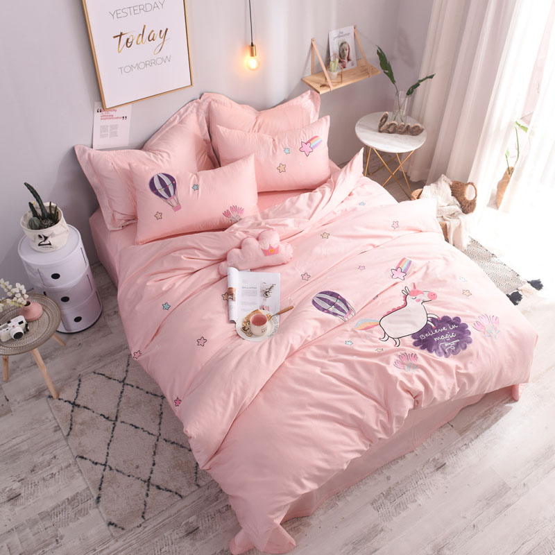 3 4pcs Luxury Egypt Cotton Cartoon Cute Unicorn Bedding