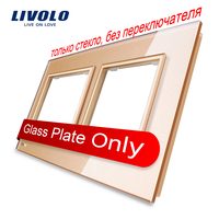 Livolo Luxury Golden Pearl Crystal Glass 150mm 80mm EU Standard Double Glass Panel For Wall Switch
