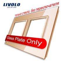 Livolo Lujo Oro de La Perla de Cristal, 150mm * 80mm, estándar de LA UE, Vidrio doble Panel de Interruptor De Pared y Zócalo, VL-C7-SR/SR-13