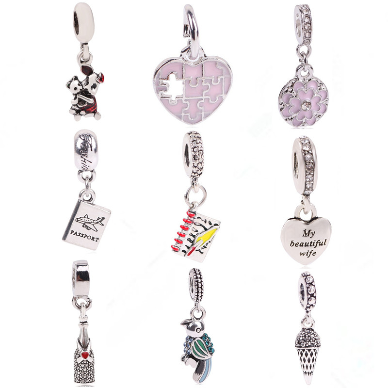 dodocharms 10pc Silver Color Original European Bird Aircraft Love Pig Notebook beads For Pandora Charm Bracelets & Necklaces