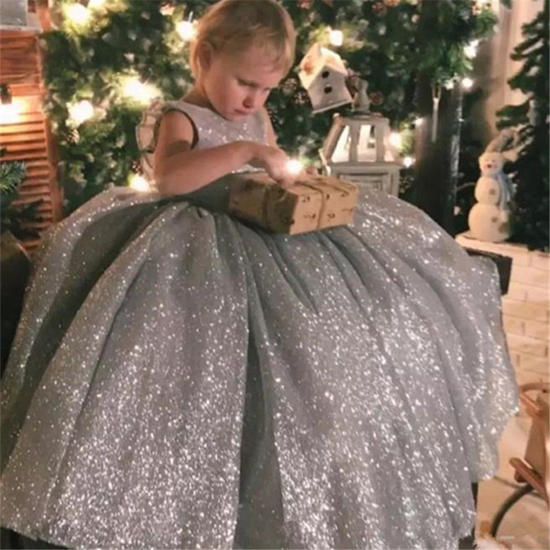 Ball Flower Girl Dress Silver Shiny Material Little Princess Birthday Party Pageant Gown Party Communion Dress