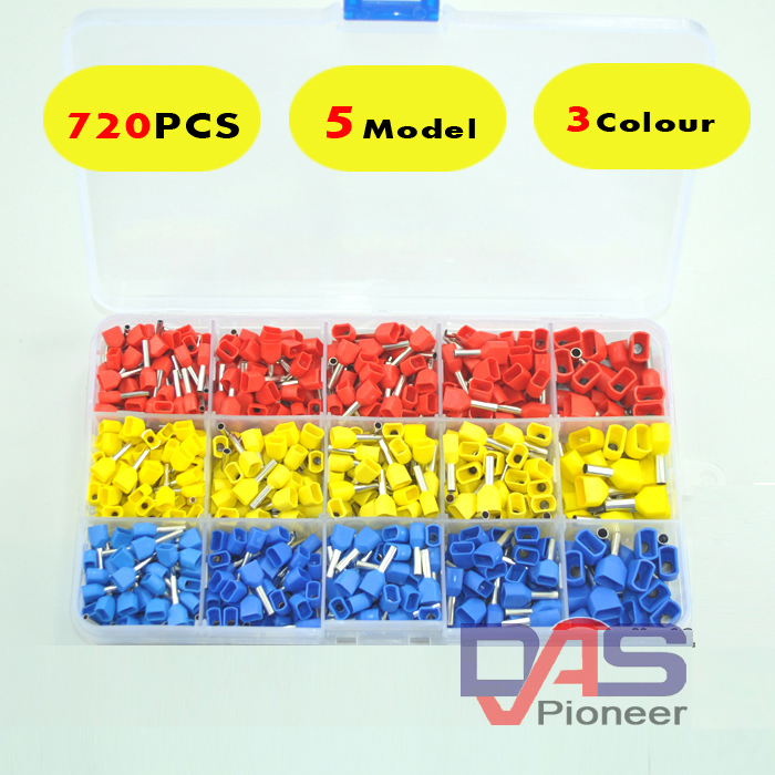 720pcs a lot  twins Dual Bootlace Ferrule teminator Kit Electrical Crimp Dual entry cord end wire terminal connector 500pcs e16 12 5awg 16mm2 crimp cord end terminal insulated bootlace ferrule connector