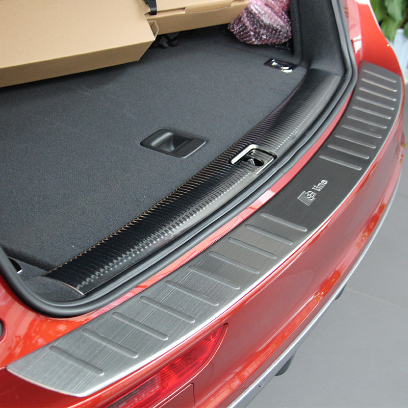 Stainless Steel Outer Rear Bumper Protector Trunk Door Sill Cover Trim Fit For Audi Q5 2009 2010 2011 2012 2013 2014 2015 2016