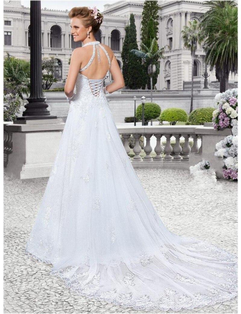 A Line Halter Appliques Wedding Dresses Backless Corset ...Backless Halter Wedding Dresses